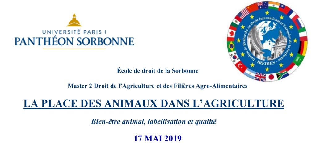 logo Université Paris 1 panthéon sorbonne logo laboratoire de recherche IREDIES La place des animaux dans l'agriculture 17 mai 2019